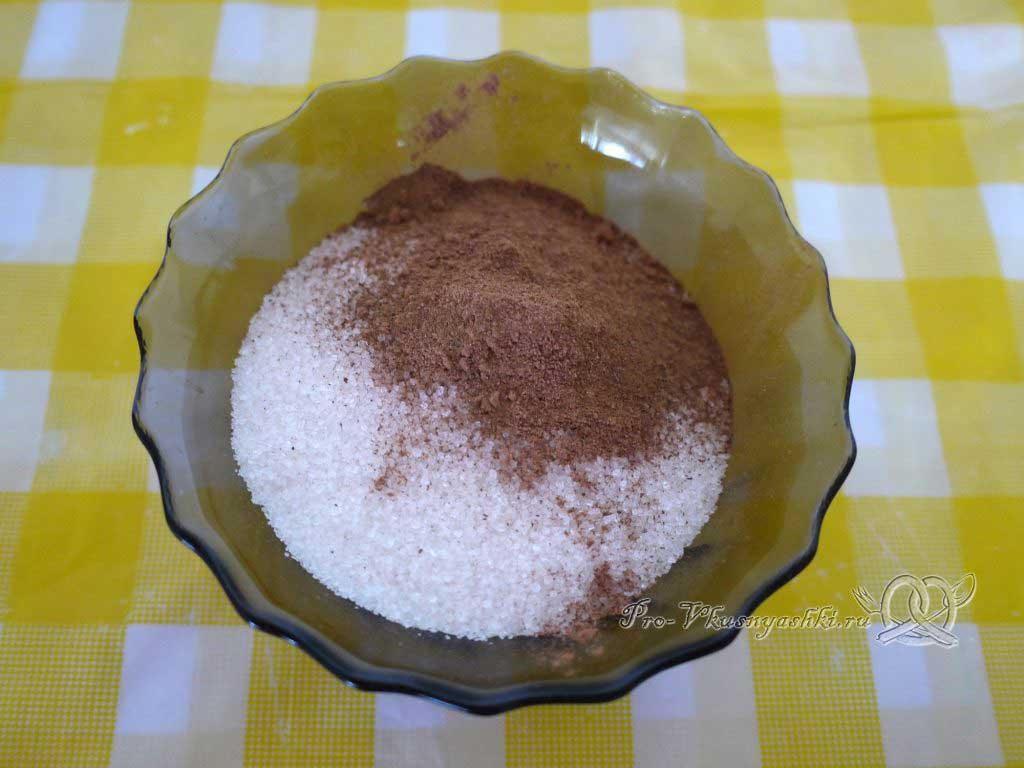 Творожное печенье Треугольники с сахаром - смешиваем сахар и корицу