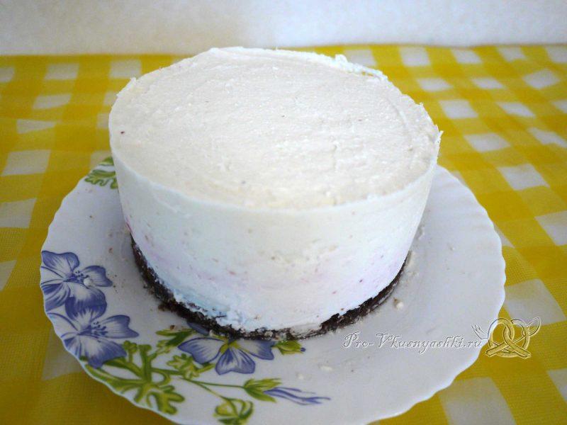 Творожный торт с желатином и малиной - снимаем форму с застывшего желе