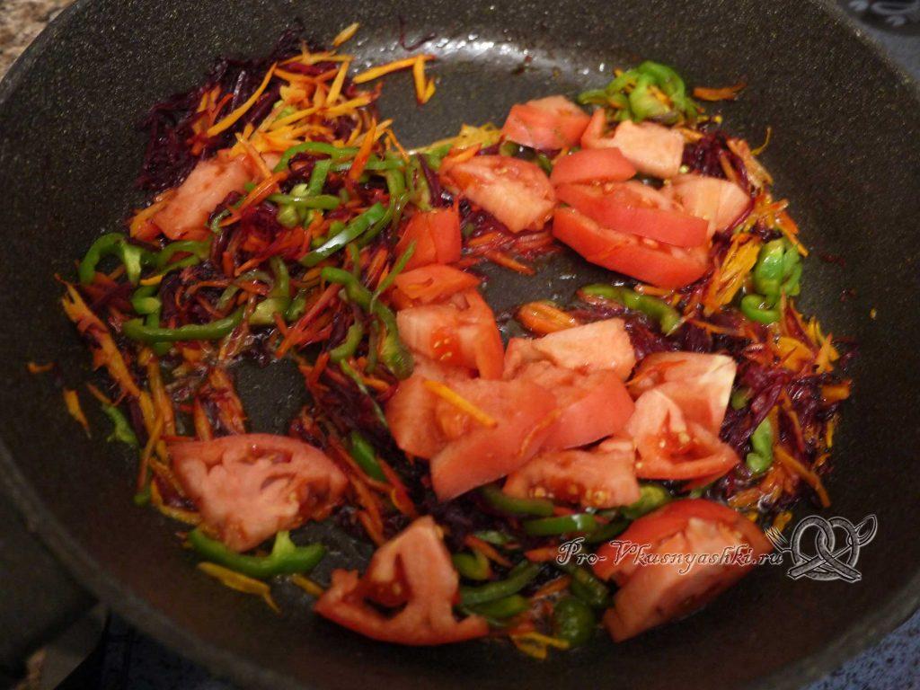 Борщ классический с мясом - обжариваем помидоры