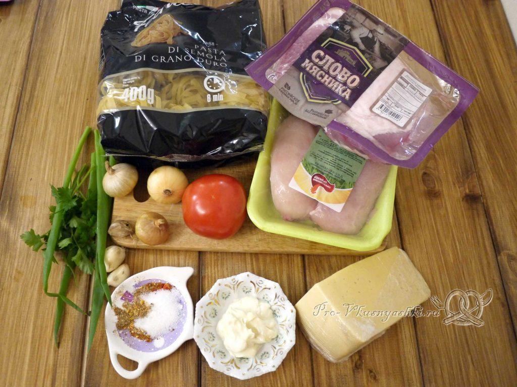 Гнезда из макарон с фаршем в духовке - ингредиенты