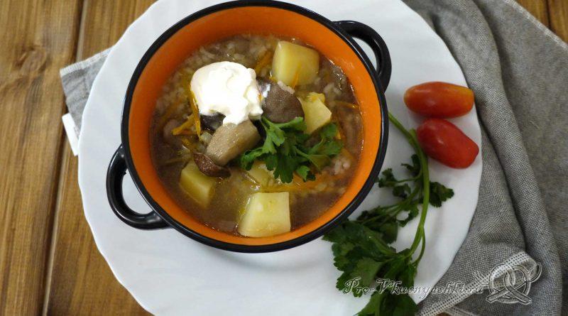 Грибной суп из лесных грибов - подача