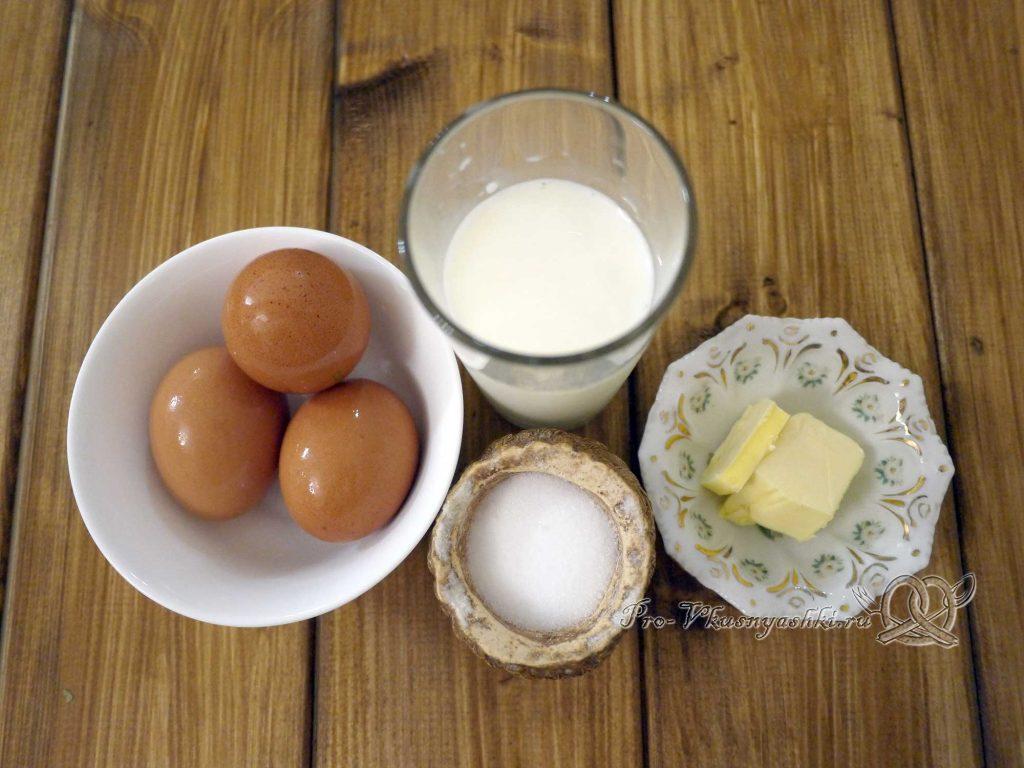 Пышный омлет на сковороде с молоком - ингредиенты