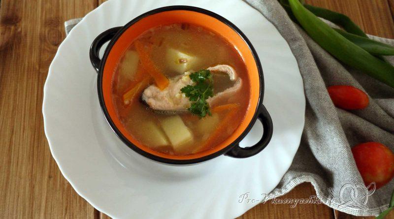 Рыбный суп из горбуши с пшеном - подача