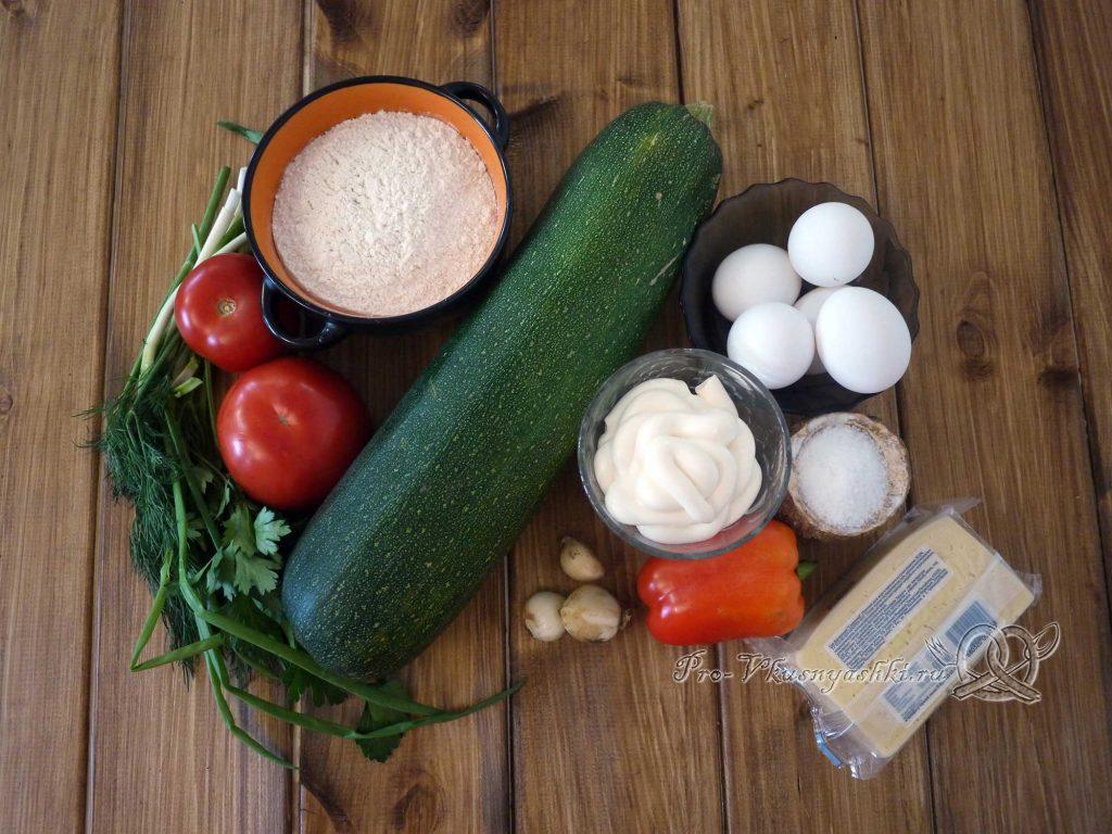 Торт из кабачков с помидорами и сыром - ингредиенты