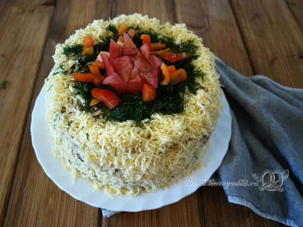 Торт из кабачков с помидорами и сыром - украшаем торт
