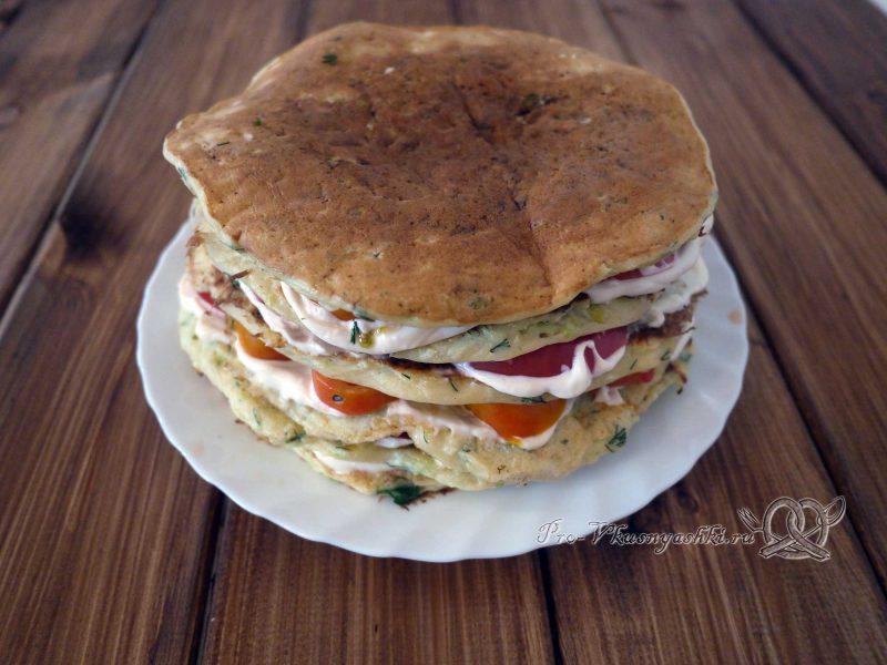Торт из кабачков с помидорами и сыром - все слои торта