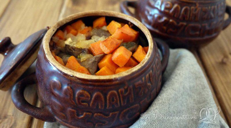 Гречка с мясом и грибами в горшочке - подача