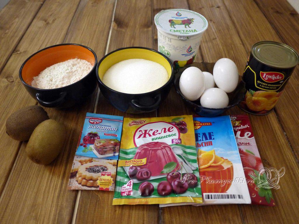 Желейный торт с фруктами и сметаной - ингредиенты