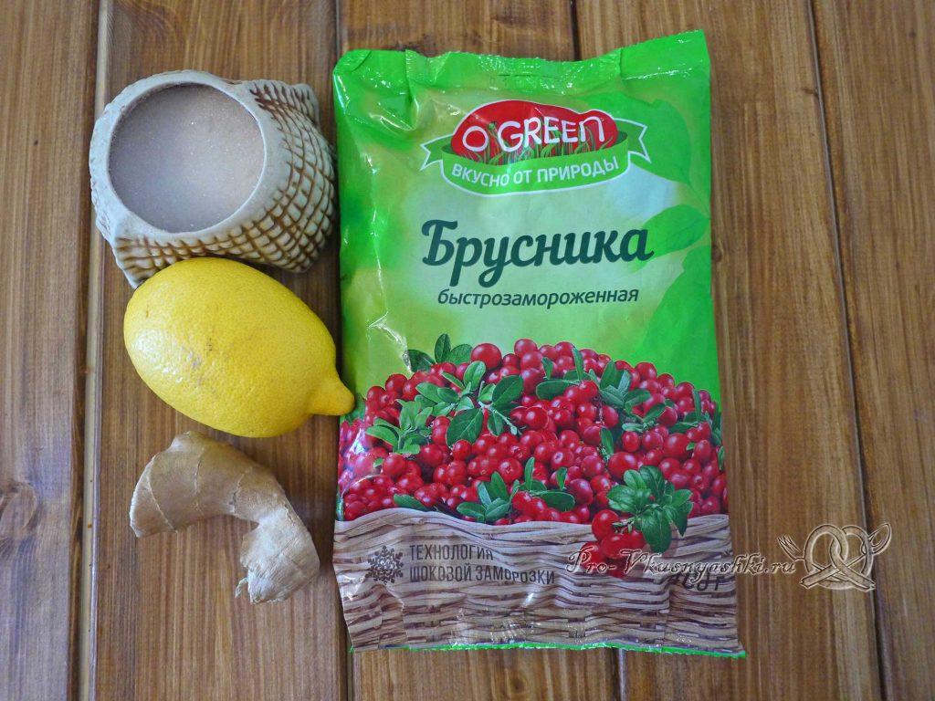 Брусничный морс из замороженных ягод - ингредиенты