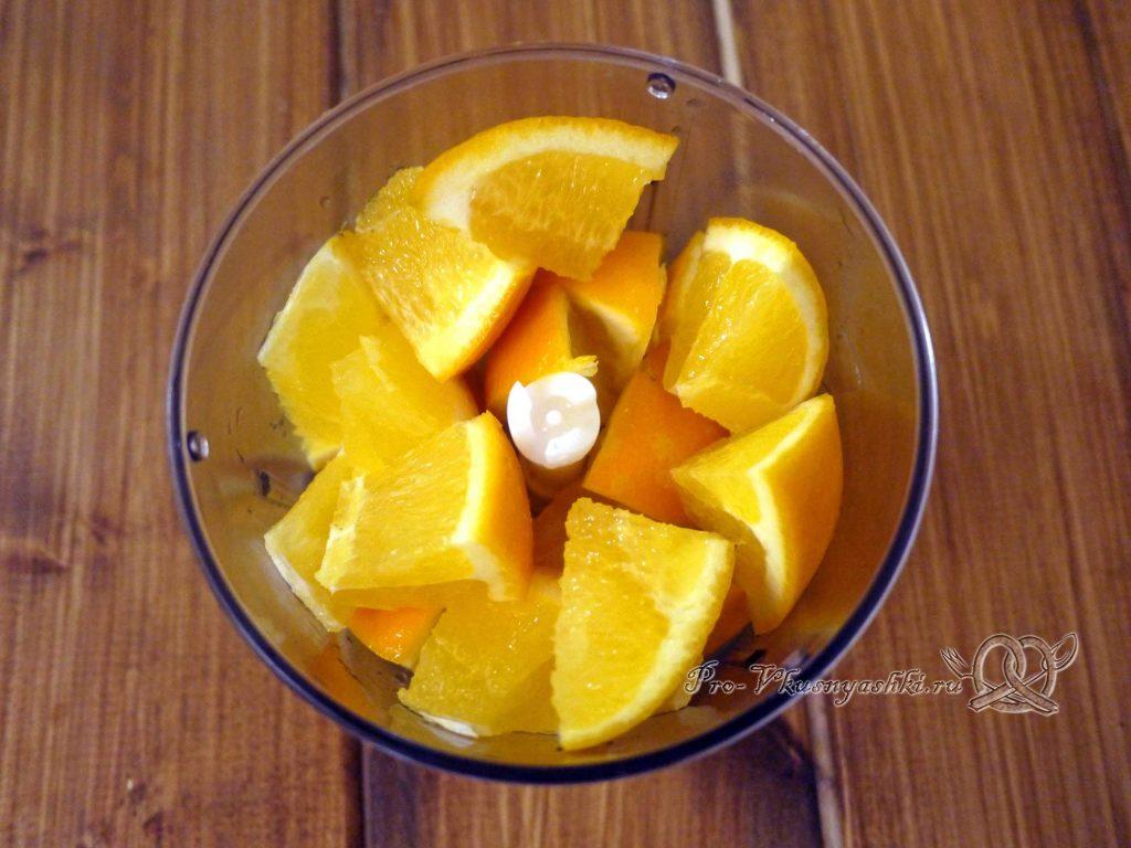 Домашний лимонад из апельсинов - измельчаем апельсины