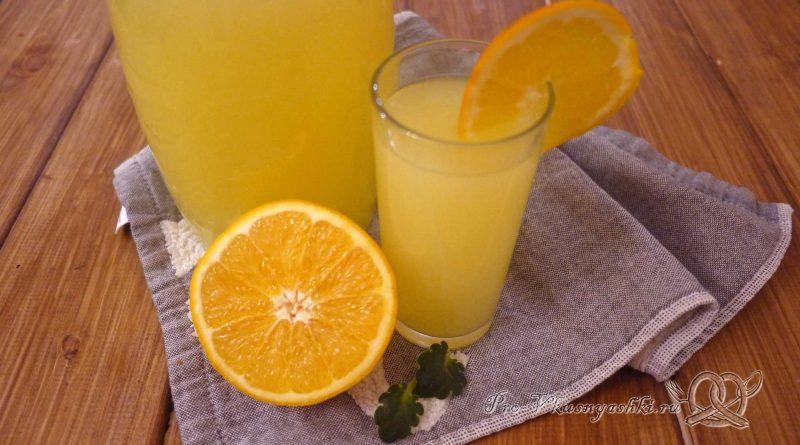 Домашний лимонад из апельсинов - подача