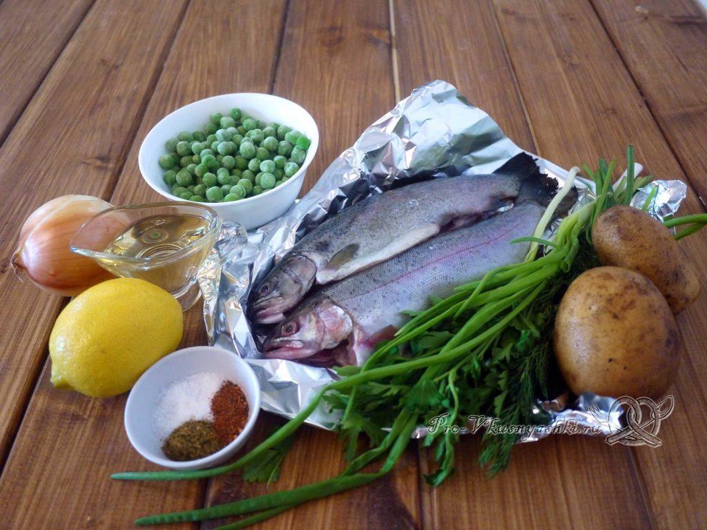 Рыбный суп из форели с зеленым горошком - ингредиенты