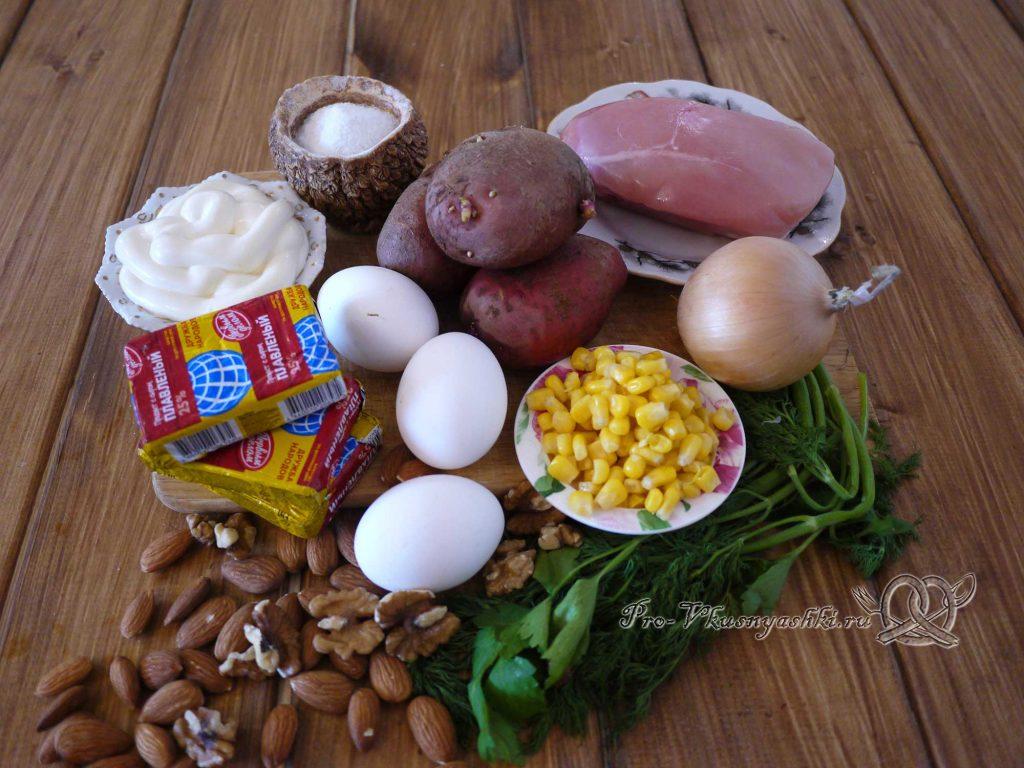 Салат Шишка с миндалем - ингредиенты