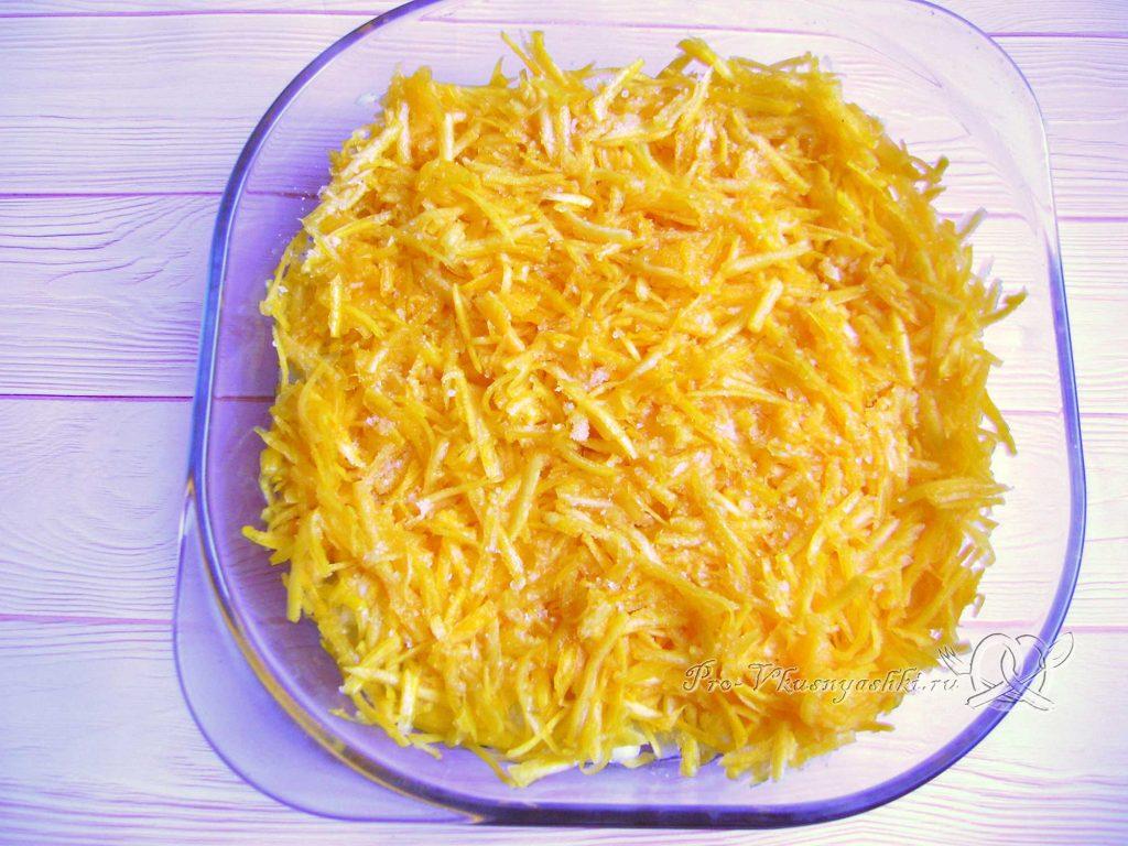 Картофельно-тыквенная запеканка с фаршем - выкладываем тыкву