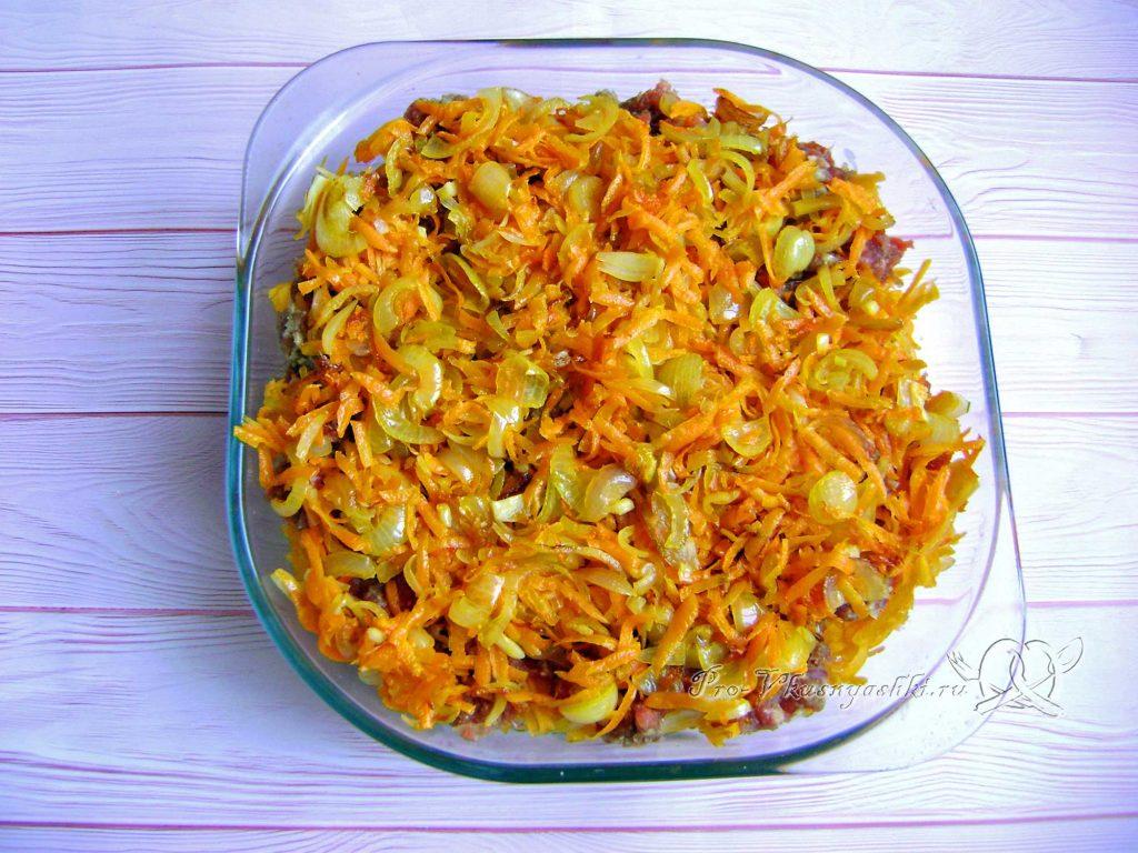 Картофельно-тыквенная запеканка с фаршем - выкладываем зажарку