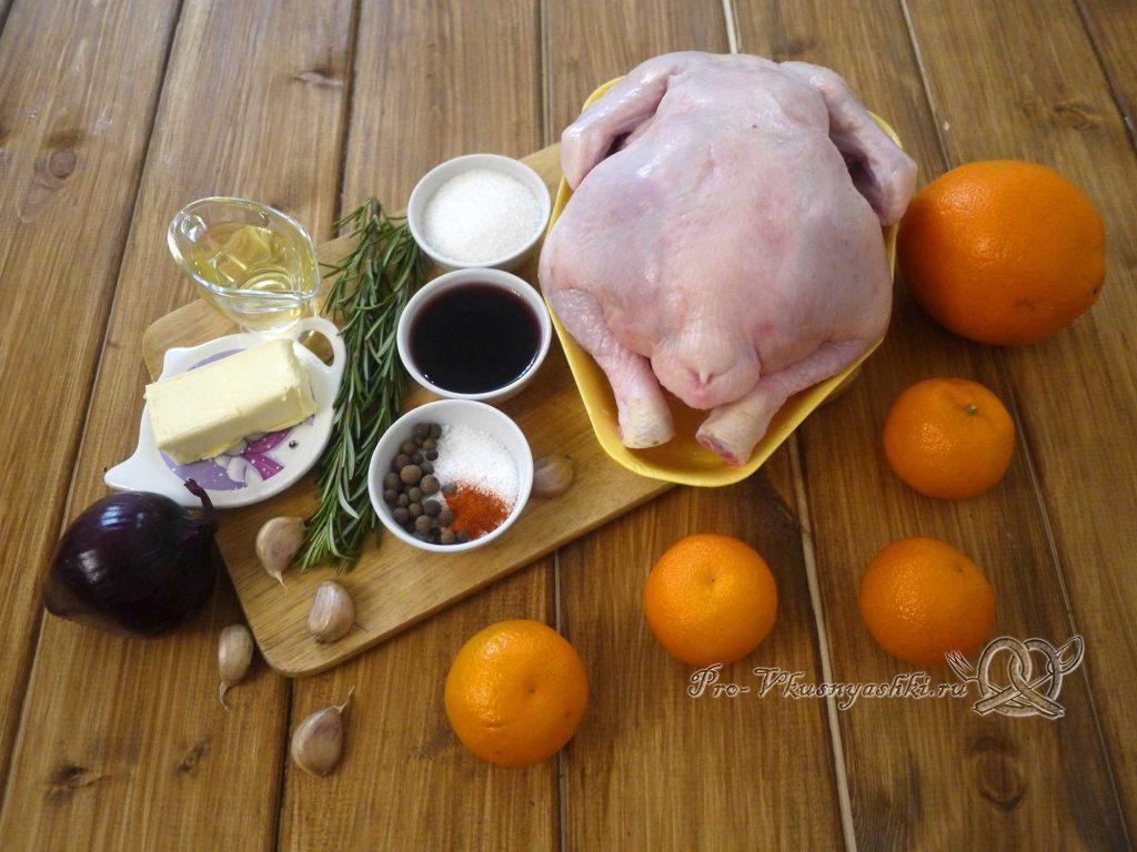 Курица фаршированная мандаринами в духовке - ингредиенты