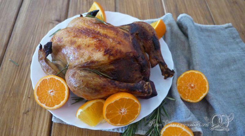 Курица фаршированная мандаринами в духовке - подача