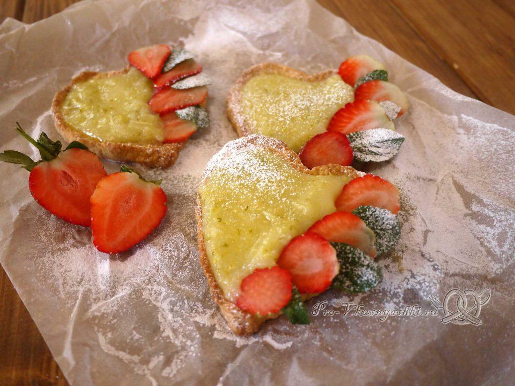 Лаймовые тарталетки с клубникой и мятой - готовое печенье