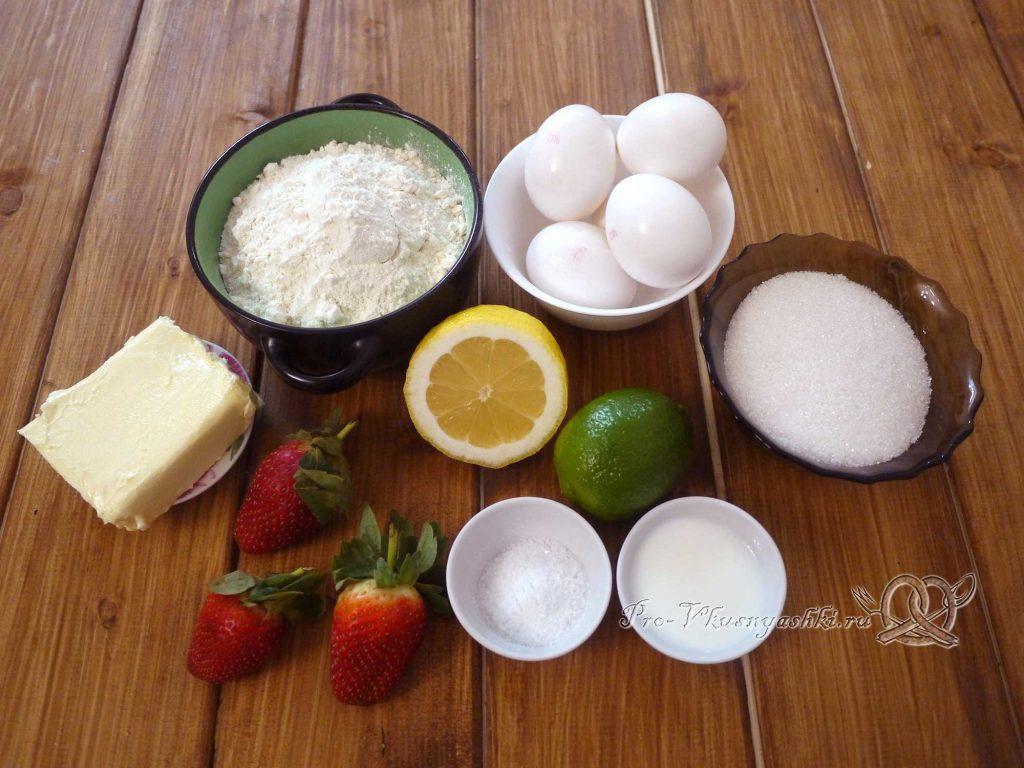 Лаймовые тарталетки с клубникой и мятой - ингредиенты