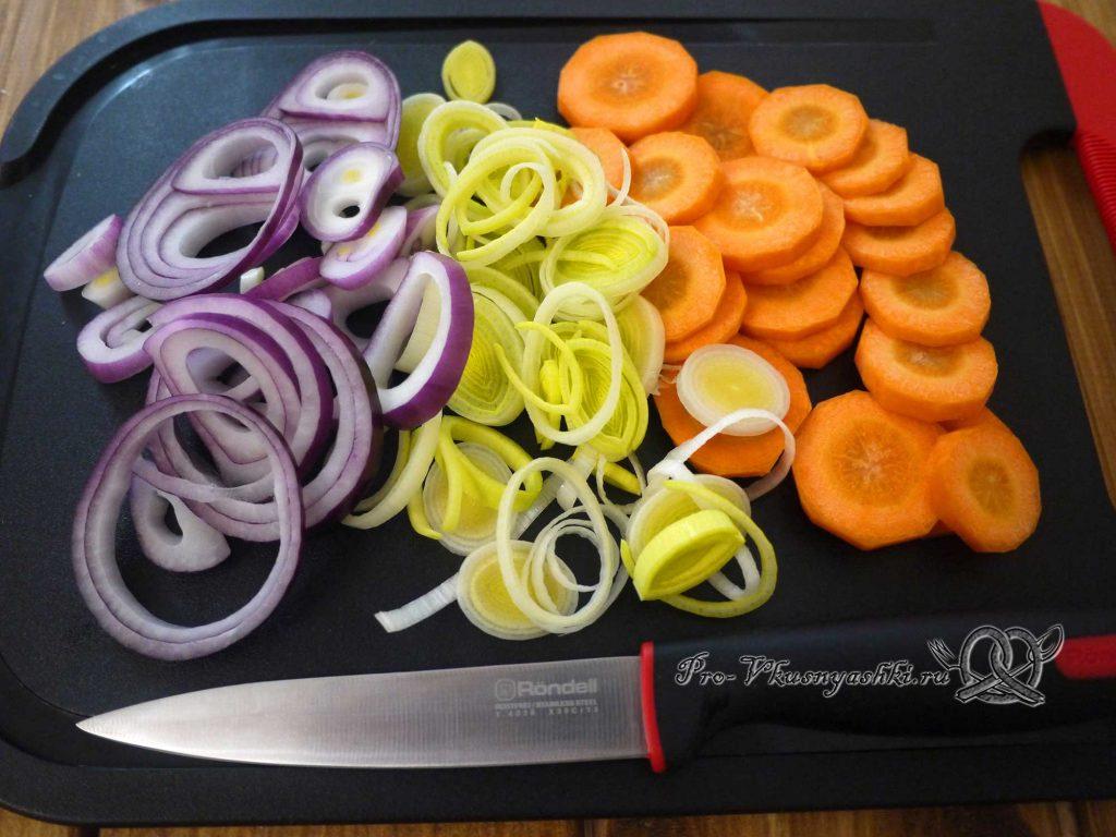 Свекольный суп-пюре с сыром - нарезаем овощи