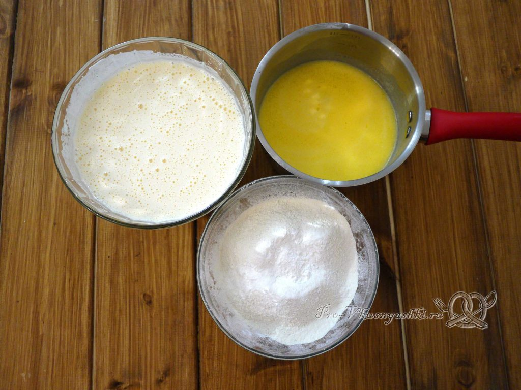 Торт «Ангел» - смешиваем ингредиенты теста