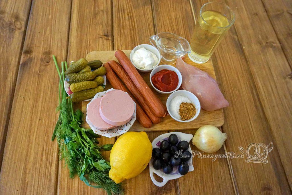 Солянка с курицей и колбасой - ингредиенты