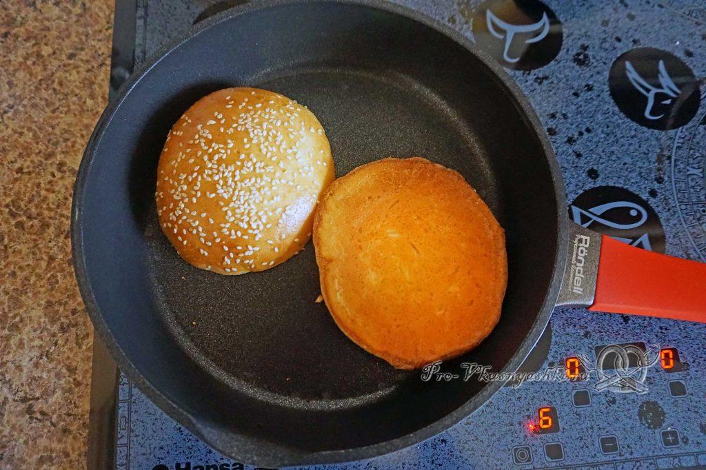 Домашний бигмак - обжариваем булочки