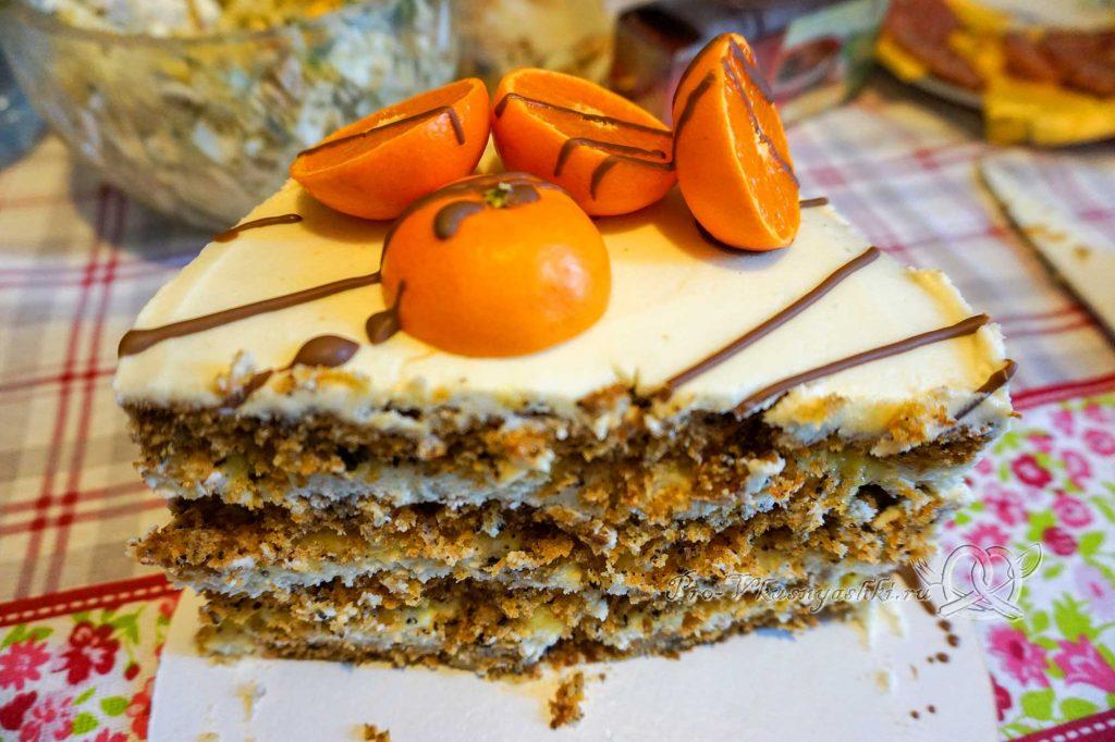 Морковный торт с апельсиновым курдом и кремом «Пломбир» - торт в разрезе