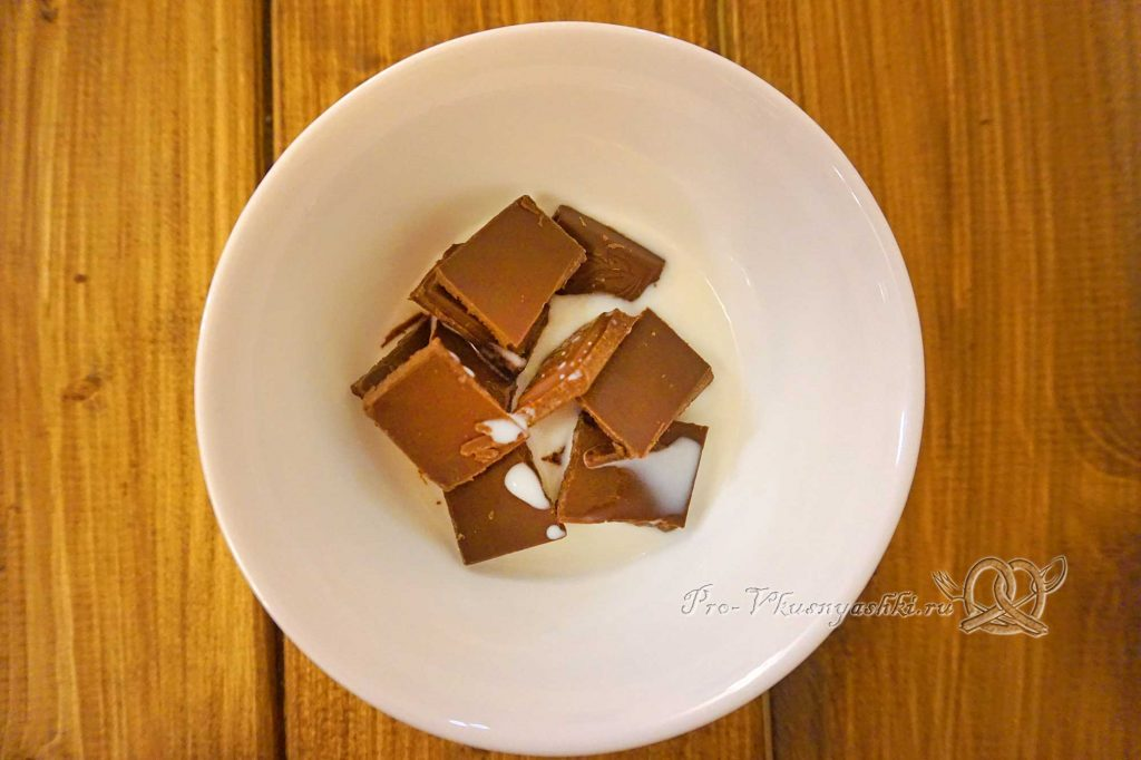 Торт «Банановый остров» - нагреваем шоколад в сливках