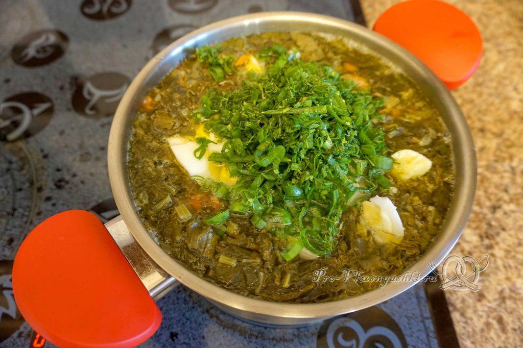 Борщ с щавелем и яйцом - добавляем зелень в суп