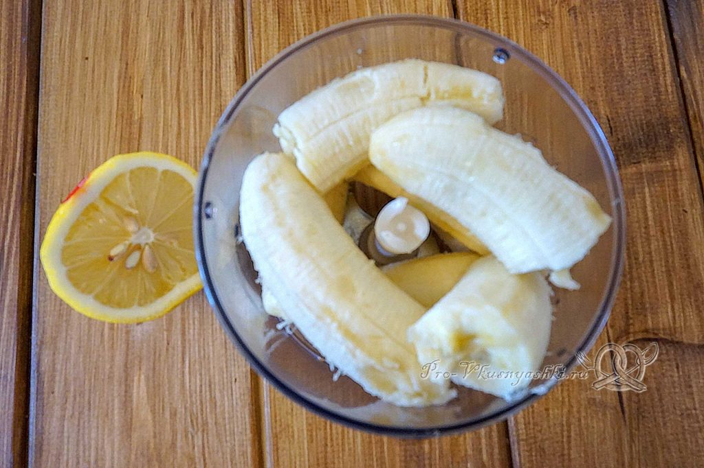 Мороженое семифредо в домашних условиях - измельчаем бананы