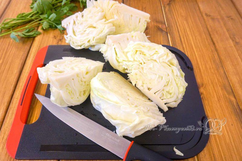 Капуста на сковороде гриль - нарезаем капусту