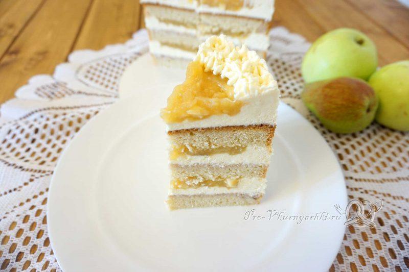 Торт с яблоками и белым шоколадом - торт в нарезке