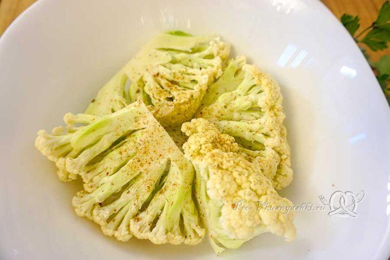 Цветная капуста на сковороде гриль - маринуем капусту