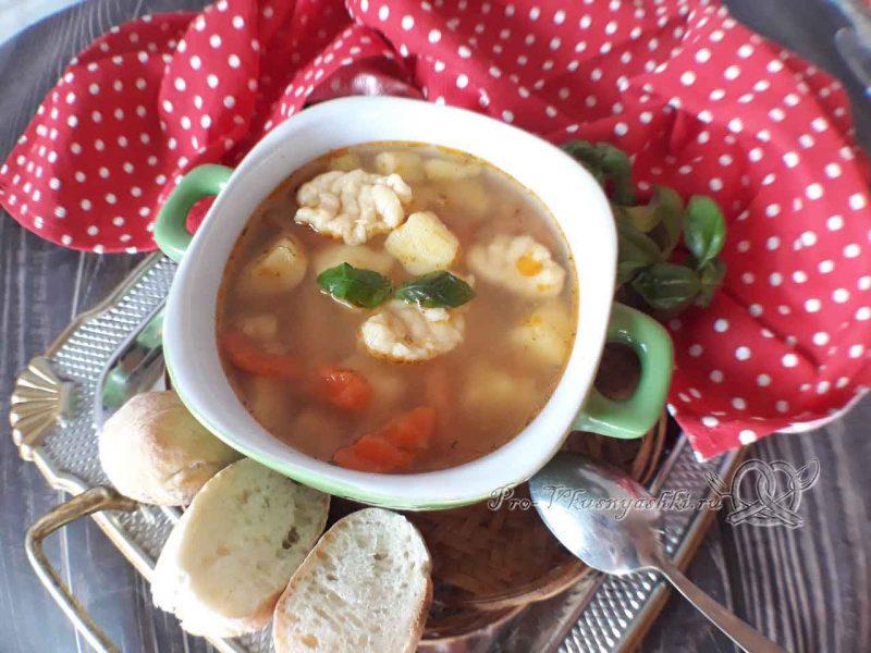 Суп с клецками - подача