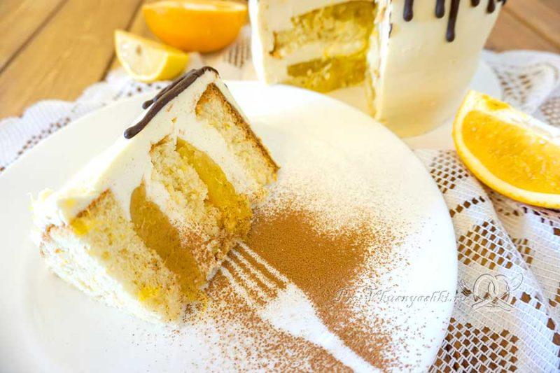 Торт с лимонами и апельсинами - подача