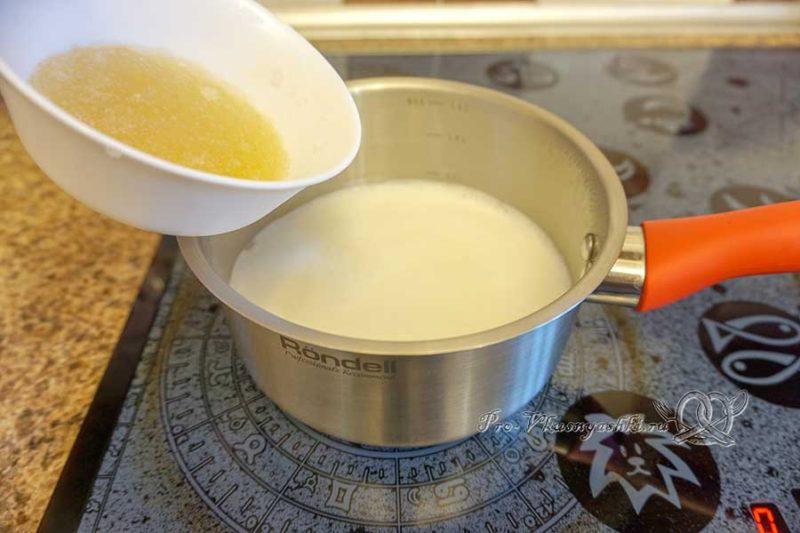 Торт с лимонами и апельсинами - распускаем желатин в молоке