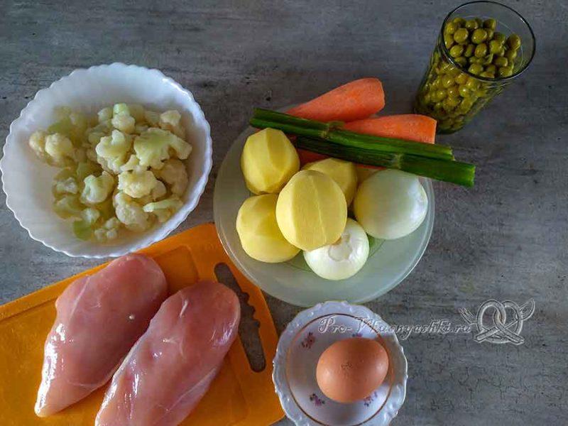 Суп из цветной капусты с зеленым горошком - ингредиенты