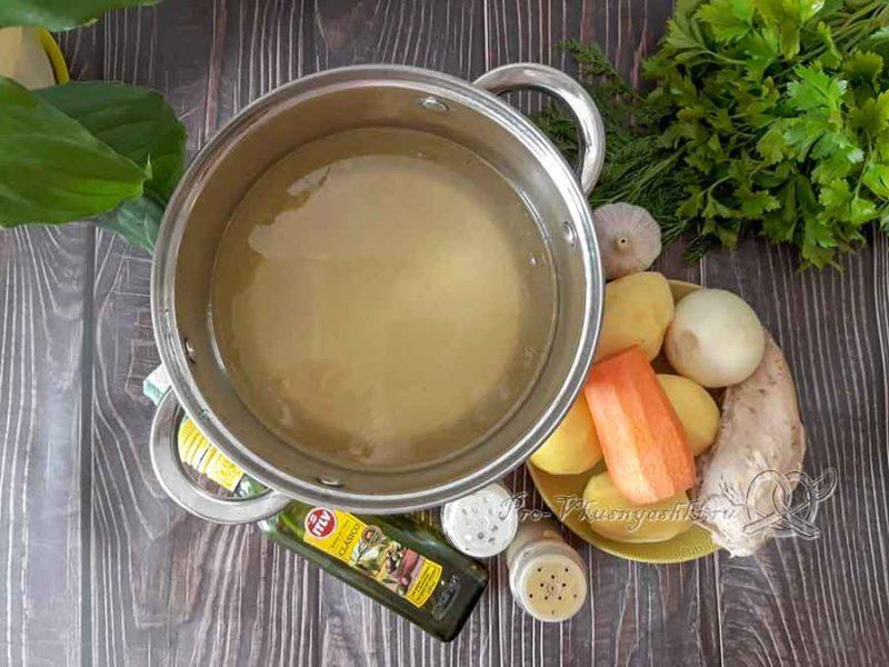 Сырный суп с курицей и плавленным сыром - ингредиенты