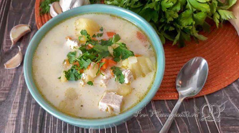 Сырный суп с курицей и плавленным сыром - подача