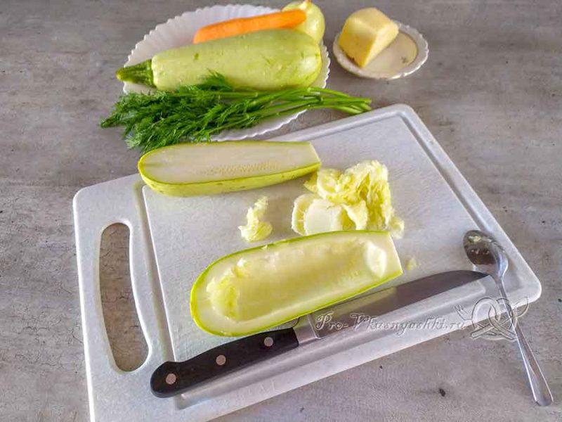 Кабачки фаршированные овощами под сыром - подготавливаем кабачки