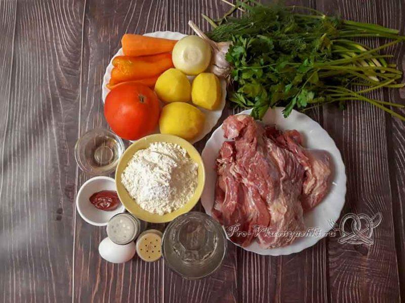 Лагман классический из говядины - ингредиенты