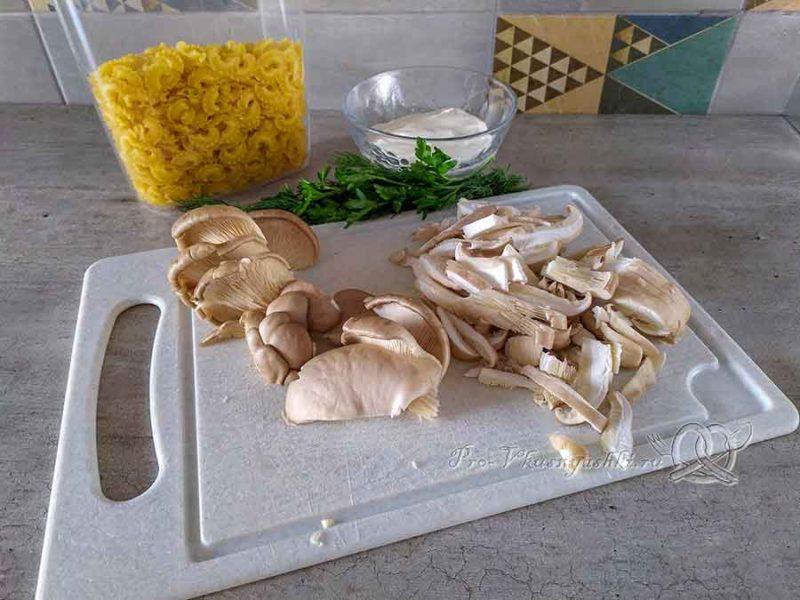 Паста с вешенками - нарезаем грибы