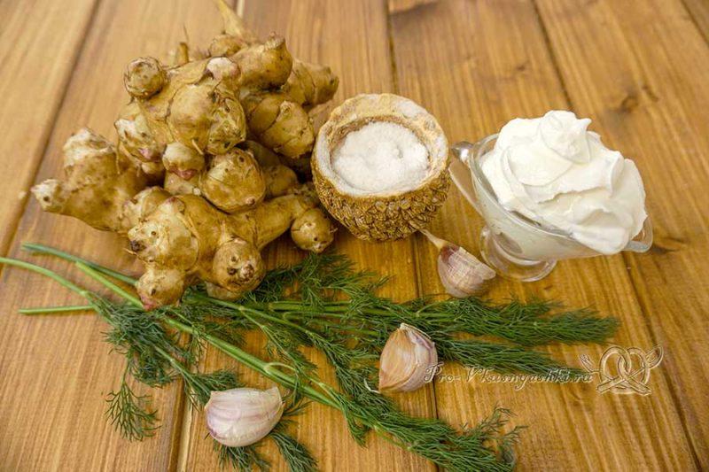 Салат из топинамбура с чесноком - ингредиенты