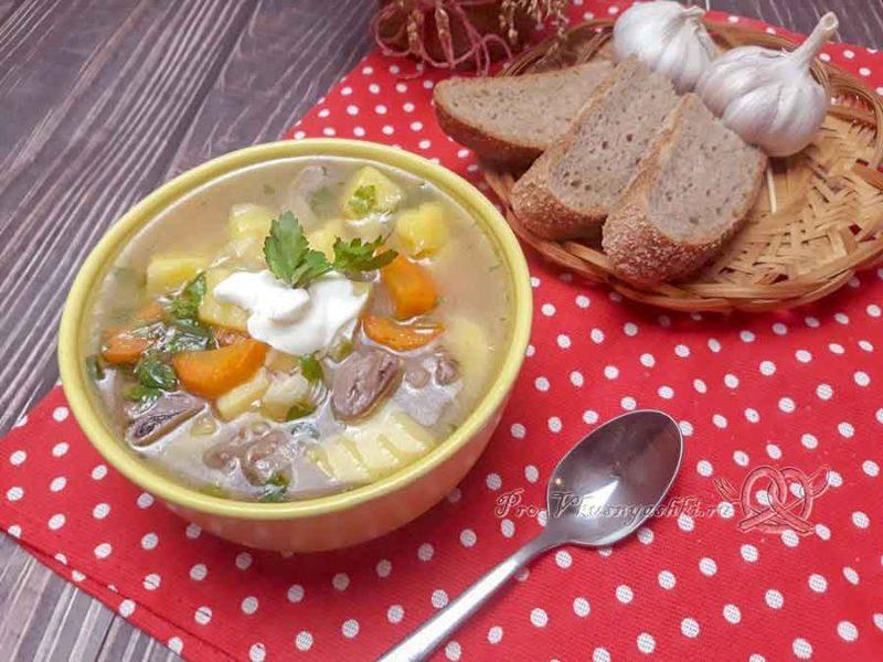 Суп из куриных сердечек - подача
