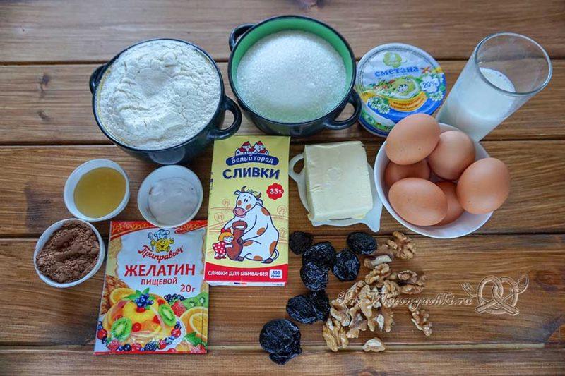 Шоколадный медовик с черносливом и орехами - ингредиенты
