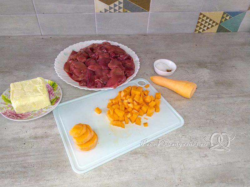 Паштет из куриной печени с морковью - нарезаем морковь