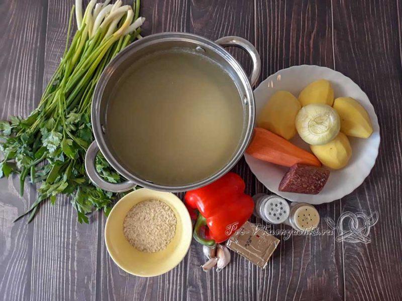 Сырный суп с копченостями - ингредиенты