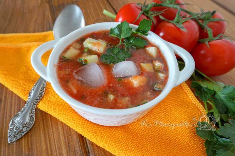 Холодный суп гаспачо классический - подача