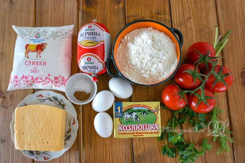 Киш с ветчиной и сыром - ингредиенты